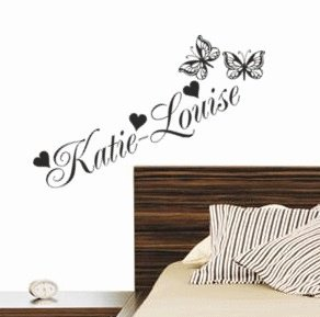 FANCY POSH personalised name wall sticker with butterflies and hearts