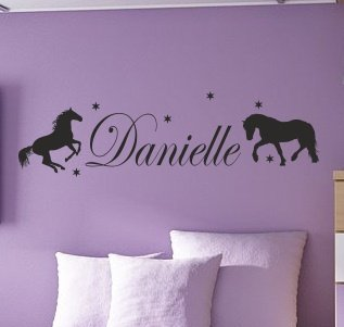 PERSONALISED HORSE NAME wall sticker with stars
