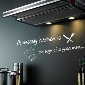 A messy kitchen is the sign of a good meal