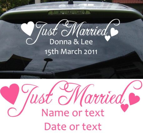 JUST MARRIED PERSONALISED CAR STICKER