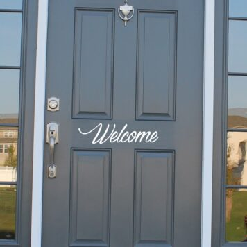 Welcome front door sticker