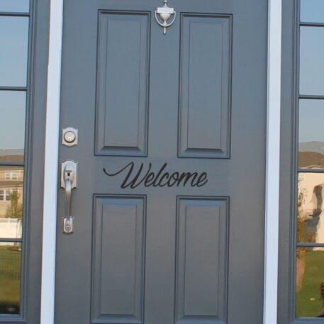 Welcome front door sticker
