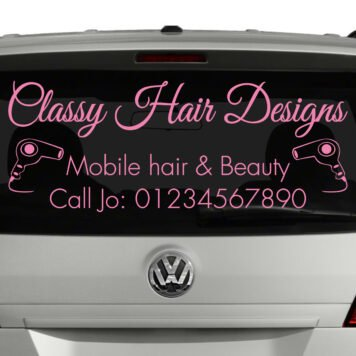 MOBILE HAIRDRESSER rear window sticker